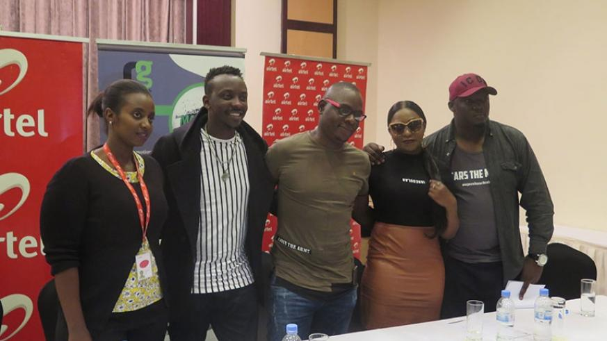 Jazz Junction organisers and headliners pose for a photo after the news conference on Wednesday. /Photo by Eddie Nsabimana