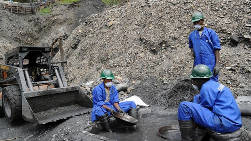 Wolfram miners in Rulindo District. Mining sector operators are calling for strategic interventions to improve the sector and spur production. / File.