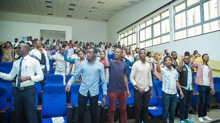 UR -College of Business and Economics students during the launch of the Capital Market Challenge on Tuesday.  (All photos by Nadege Imbabazi)