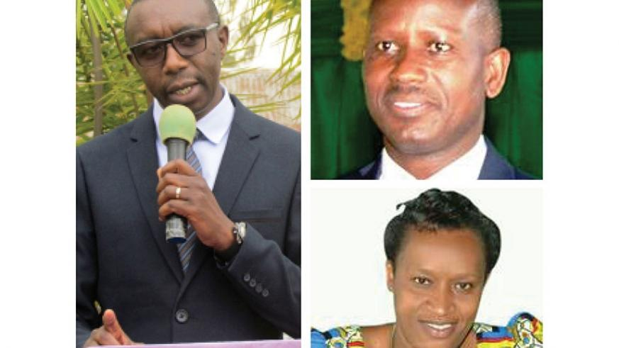 CLOCKWISE: The dismissed mayor Francois Xavier Mbabazi, Epimaque Twagirimana, and Annonciata Kambayire. (Photos by Kelly Rwamapera)