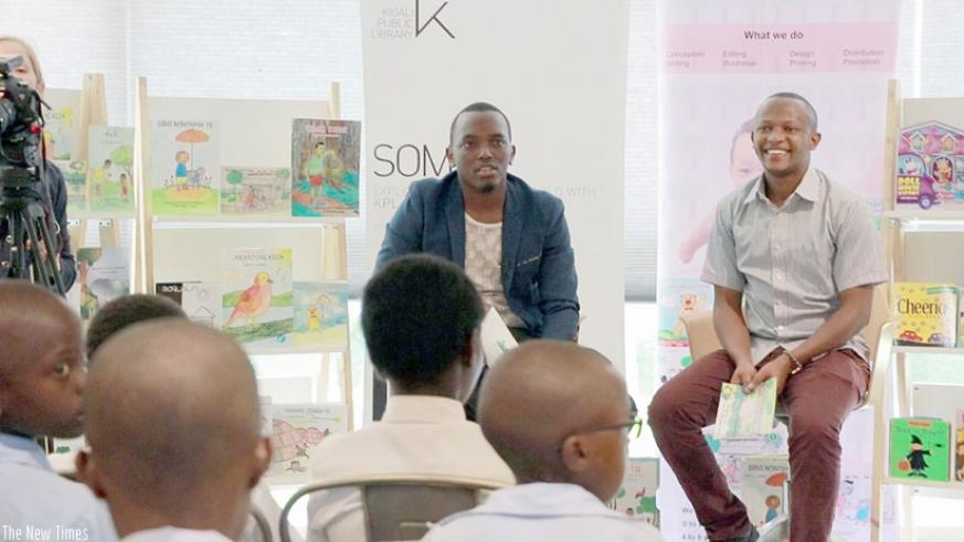 Tom Close (L) has written over 80 books for children. (Photos by Elisee Mpirwa)