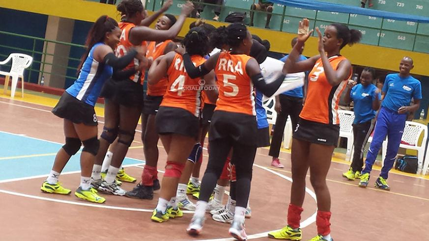 RRA, seen here during a loc al game, beat Ngong 25-18, 15-25, 25-21, 25-14 to put themselves in a good position ahead of today's second match against title holders Ahly of Egypt. File photo