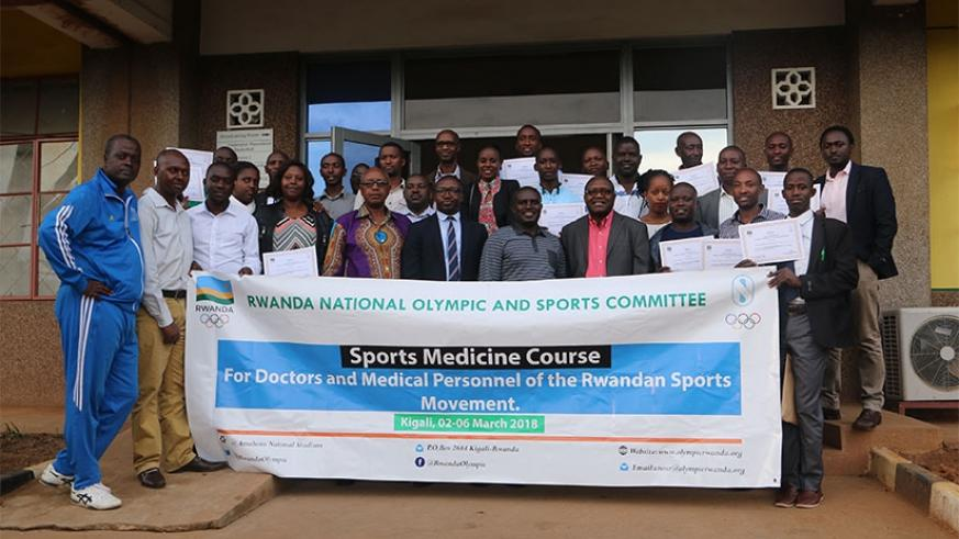 Local sports physicians pose for a photo after attending a five-day course in Sport Medicine at Amahoro National Stadium. D. Sikubwabo
