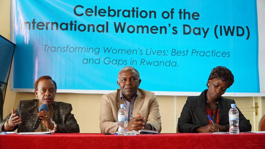 Annie Kairaba, the chief executive officer of Rwanda Initiative for Sustainable Development speaks during the conversation on International Women's Day.