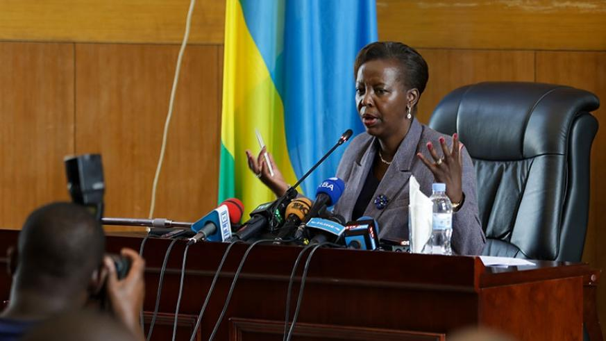 Mushikiwabo addresses the news conference in Kigali yesterday. (Photos by Timothy Kisambira)
