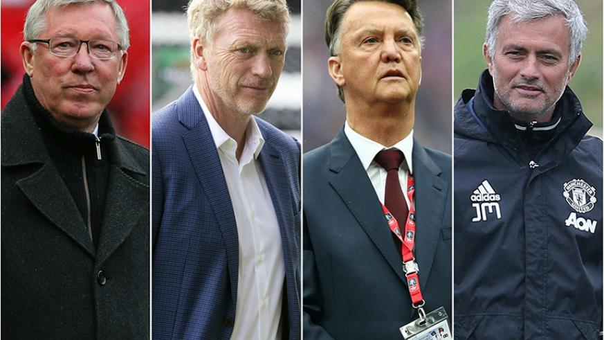 Man United have struggled to replace Sir Alex Ferguson (left), who handpicked David Moyes as his successor (2nd left), before Louis Van Gaal came in, and then Jose Mourinho (right). Net photo