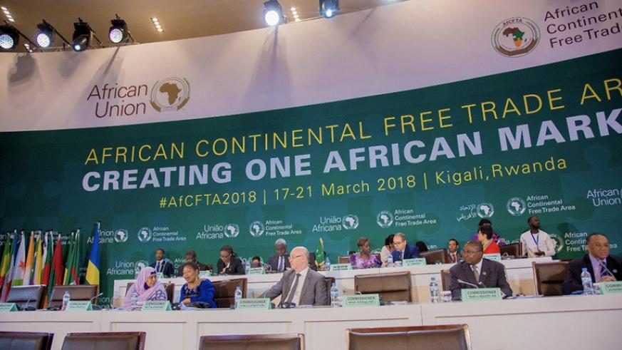 Foreign affairs ministers gathered at the Kigali Convention Centre are reviewing the draft of the Continental Free Trade Area Agreement ahead of its signing on Wednesday. (Courtesy)