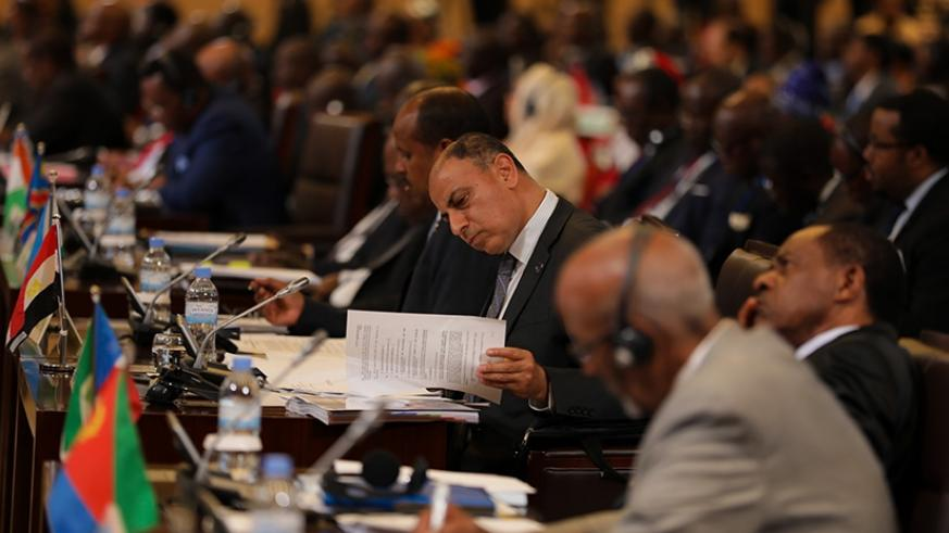 A delegate reads through documents at the Executive council of ministers of African Union meeting in Kigali. (Timothy Kisambira)