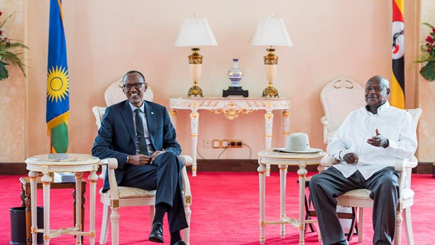 Presidents Kagame and Museveni at the State House in Entebbe, Uganda yesterday. Kagame paid a one-day official visit to the neighbouring country during which the two leaders discus....