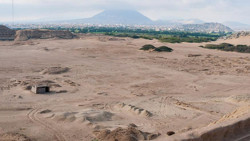 A view of the city of Trujillo between the mountains and the desert in northern Peru.