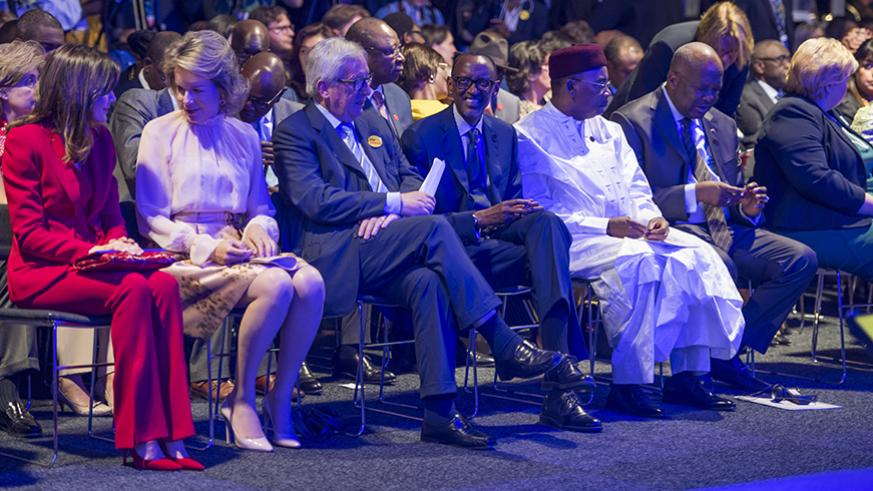 L-R: Queen Letizia of Spain, Queen Mathilde of Belgium, President of EU Parliament Antonio Tajani, President Paul Kagame, President Mahamadou Issoufou of Niger, and President Roch Kaboré of Burkina Faso at the opening of the two-day European Development Days meeting in Brussels yesterday. Addressing the gathering, President Kagame called on leaders across the world to help eliminate gender inequality, which he said is evident in societies across the world. / Village Urugwiro