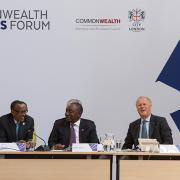 Left-right: President Kagame, President Cyril Ramaphosa of South Africa, Commonwealth Enterprise and Investment Council Chairman Lord Marland, and former Nigeria's finance minister Ngozi Okonjo-Iweala at the Commonwealth Business Forum in London yesterday. Kagame, who is the current Chairperson of the African Union, said African leaders need to improve business environment for citizens to fully benefit from the recently signed African Continental Free Trade Area agreement. Village Urugwiro.