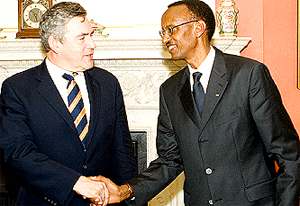 Brown and Kagame at Downing Street in London on Wednesday. (Photo/PPU)