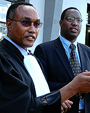 Mitali (R) and  party lawyer Jean Bosco Kazungu outside the High Court recently. (File Photo)