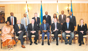 President Kagame with members of PAC at the end of the 2nd PAC meeting held in Kigali last weekend.(PPU photo)