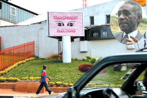 An electronic billboard in Kigali City centre, on which NEC is running clips aimed at raising public awareness on the upcoming parliamentary elections. Inset is the commission chief, Chrysologue Karangwa. (Photo/ E. Mucunguzi)