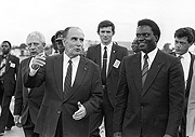 Birds of a feather: Mitterand and Habyarimana. The French President did everything to prop up his old friend