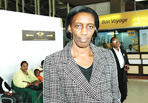 Kabuye at the airport before she returned to France earlier this month. (File Photo).
