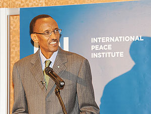 President Kagame addressing the International Peace Institute yesterday (Photo Urugwiro Village)