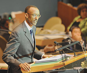 President Paul Kagame addressing the UN General Assembly yesterday. (Photo Urugwiro Village)