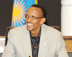 President Kagame at the press conference yesterday ( Photo Urugwiro Village)