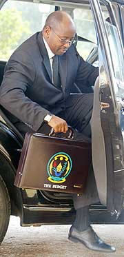 Minister james Musoni on the Budget Day(File photo)