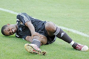 Albert Ngabo lies down after being injured in  a league game against Kiyovu. (File Photo)