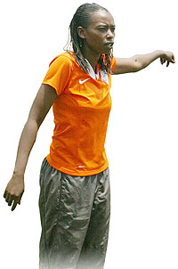 AS Kigali coach Nyinawumuntu gestures to her players during one of the team's training sessions early this year. (File photo)