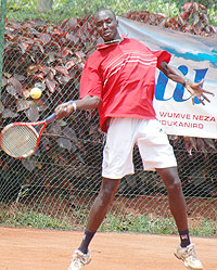 Rwanda's top seed Jean Claude Gasigwa hit a forehand in a past local event. (File photo)