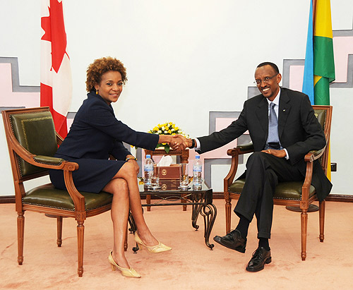 President Kagame and Michaëlle Jean, the Governor General of Canada. (Photo Urugwiro Village)