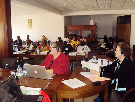 Business women and their trainers during the closing of the two-day  training on Wednesday(Photo P Ntambara)