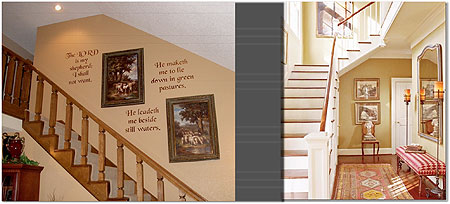 L-R : A stencilled staircase ; Staircase decorated with a combination of mirrors and pictures