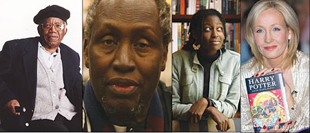 L-R : Chinua Achebe, now paralysed waist down due to a car accident is arguably the most read african author ; Ngugi who writes in his native Kikuyu language has won literary acclaim, with most of his books being translated to English ; Helen Oyeyemi wrot
