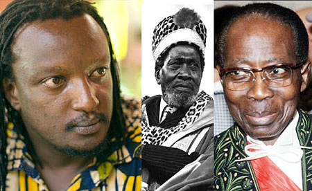 L-R : Binyavanga Wainaina author of satirical How to write about Africa ; Jomo Kenyatta wrote Facing Mt Kenya ; Leopold Senghor