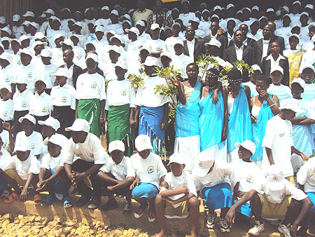 Participants in the music and poetry competition from all the districts of the province pose in a group   (Photo; P Ntambara)