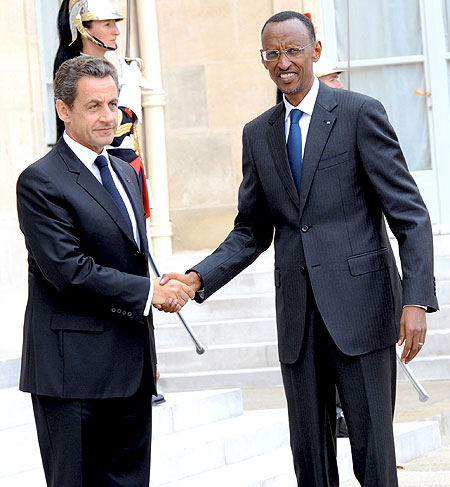 President Kagame was received by Sarkozy