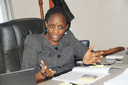 Minister Kalibata speaking to The New Times at her office. The New Times / J. Mbanda