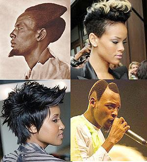 TL: Amasunzu is purely traditional and originally Rwandan. It can be likened to the mohawk. TR: Rihanna's mohawk. BL: Beautiful and black. Mohawks can be worn by women too.  BR: The Rwandan Amasunzu, won by Ras Kayaga of Holy Jah Doves is a sacred hairsty