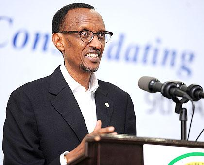 President Kagame addressing the 9th Annual Leadership Retreat in Gako. The New Times/Village Urugwiro.