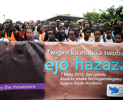 The youth during Saturday's 'Walk-to-Remember' in memory of Genocide victims.  The New Times / Timothy Kisambira.