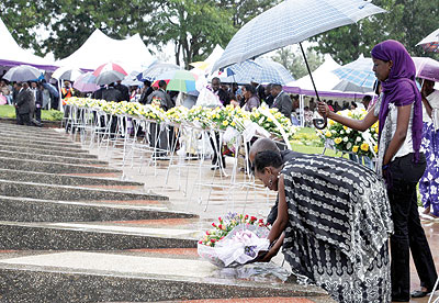 Relatives of the victims of the Genocide laying wreaths.
