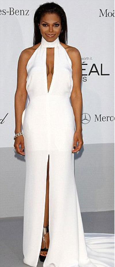 Concerned aunt: Janet Jackson at an amfAR party at the Cannes Film Festival last night. Net photo.