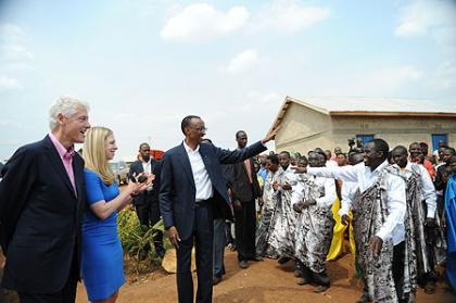 President Kagame greets residents of Nyagatovu model village-Nyagatovu, 19 July 2012