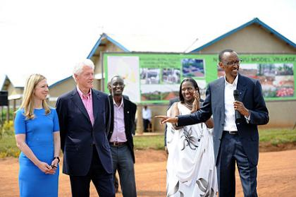 President Kagame introducing President Clinton to residents of Nyagatovu model village. Nyagatovu, 19 July 2012