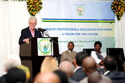 President Clinton giving keynote address at Rwamagana School of Nursing and Midwifery-Rwamagana, 19 July 2012