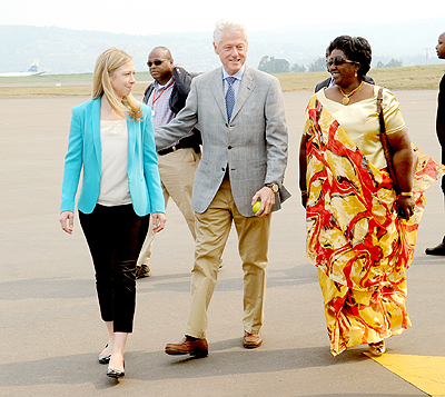 President Bill Clinton, his daughter Chelsea Clinton and Health minister Dr Agnes Binagwaho.