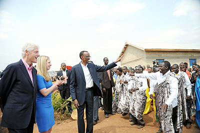 President Kagame greets residents of Nyagatovu model village-Nyagatovu on Thursday