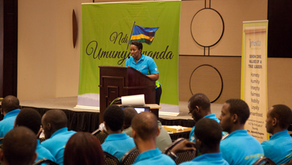 10.	First Lady Jeannette Kagame gives her remarks  during the Youth Forum at Serena.