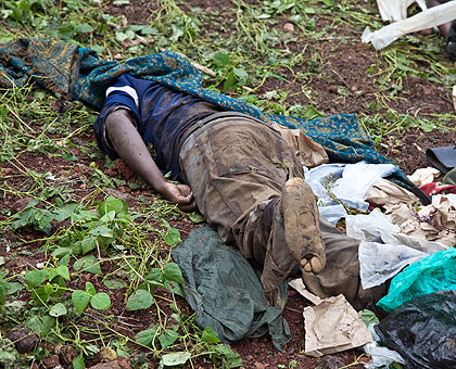 The body of one of the FDLR combatants killed during the fighting. Five bodies were seen by our journalists.