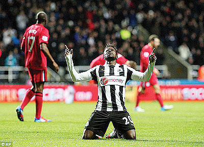 An emotional Gael Bigirimana thanks the Lord after scoring his first for Newcastle.